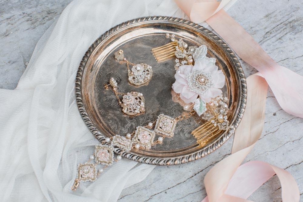 Peony Headpiece, Damask Rose Earrings & Bracelet