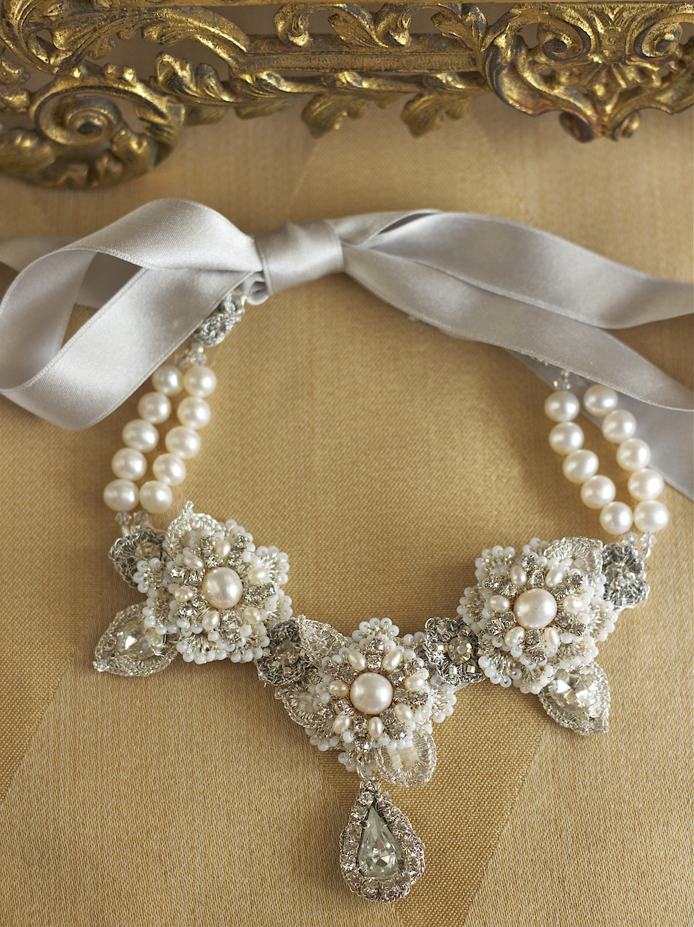 As Seen on Reign | Handmade Lace Bridal Choker Necklace with Freshwater Pearls and Crystals