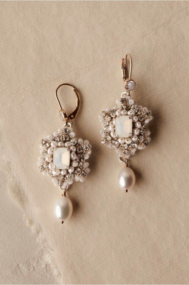 BHLDN Gold Wedding Earrings | Crochet Lace, Crystal & Pearl Earrings