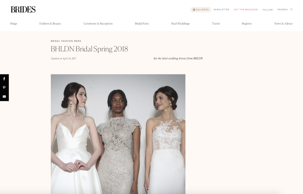 "Edera ""Lachelle"" Earrings, designed exclusively for BHLDN, featured on  Brides Magazine's website ."