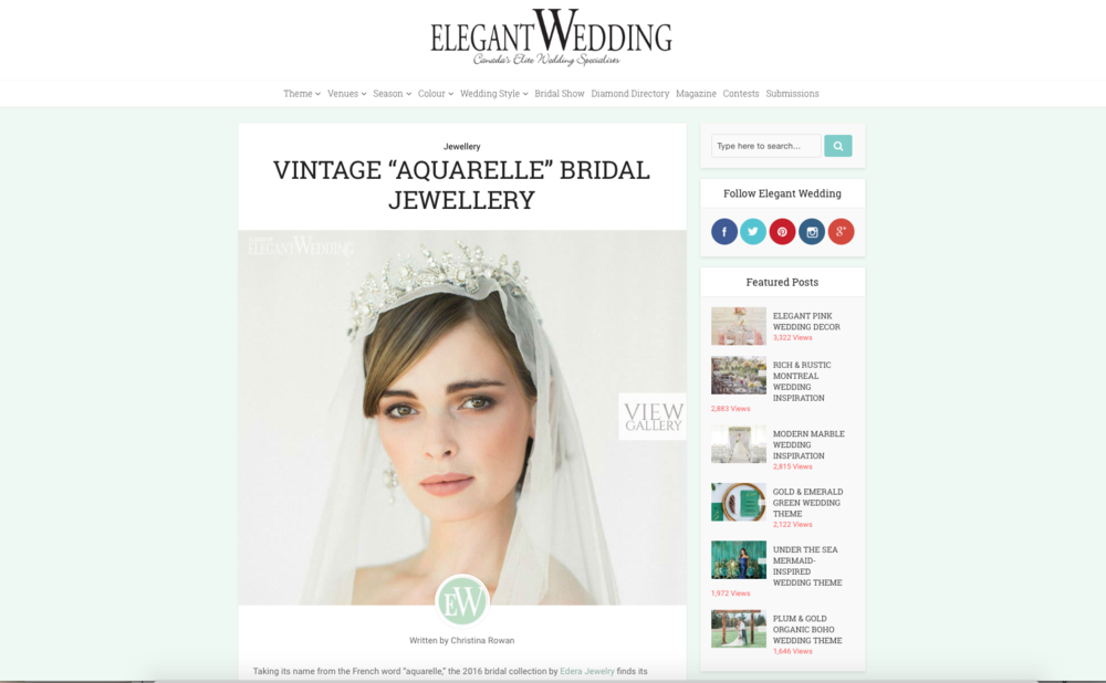 "Edera ""Aquarelle"" Collection featured on  Elegant Weddings Canada ."