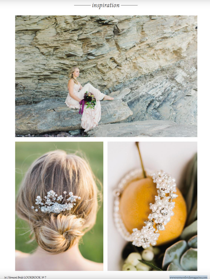 Edera 'Ivy Vine' comb and 'Artemisia' bracelet featured in Vermont Bride Magazine