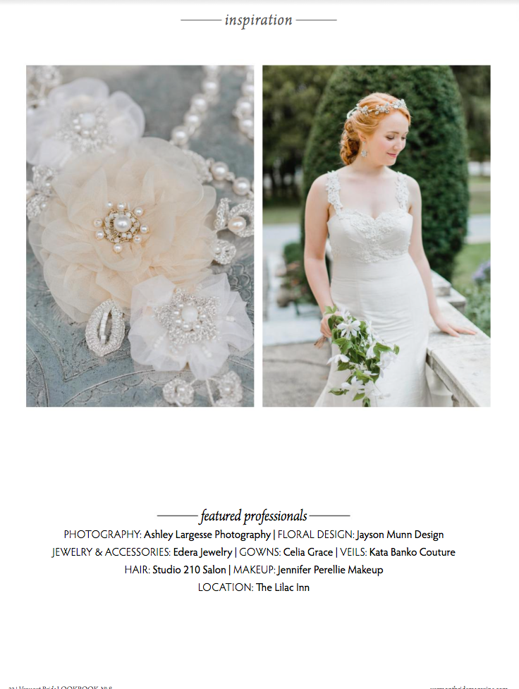 Edera designs featured in Vermont Bride Magazin