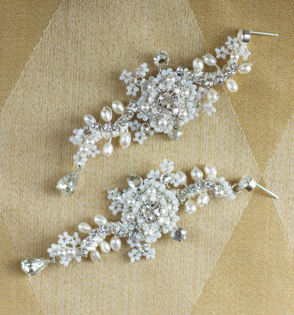 Custom Pearl & Crystal Floral Statement Wedding Earrings