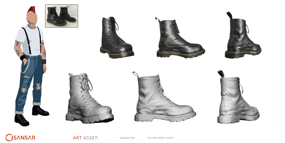 Male Punk Boot Asset