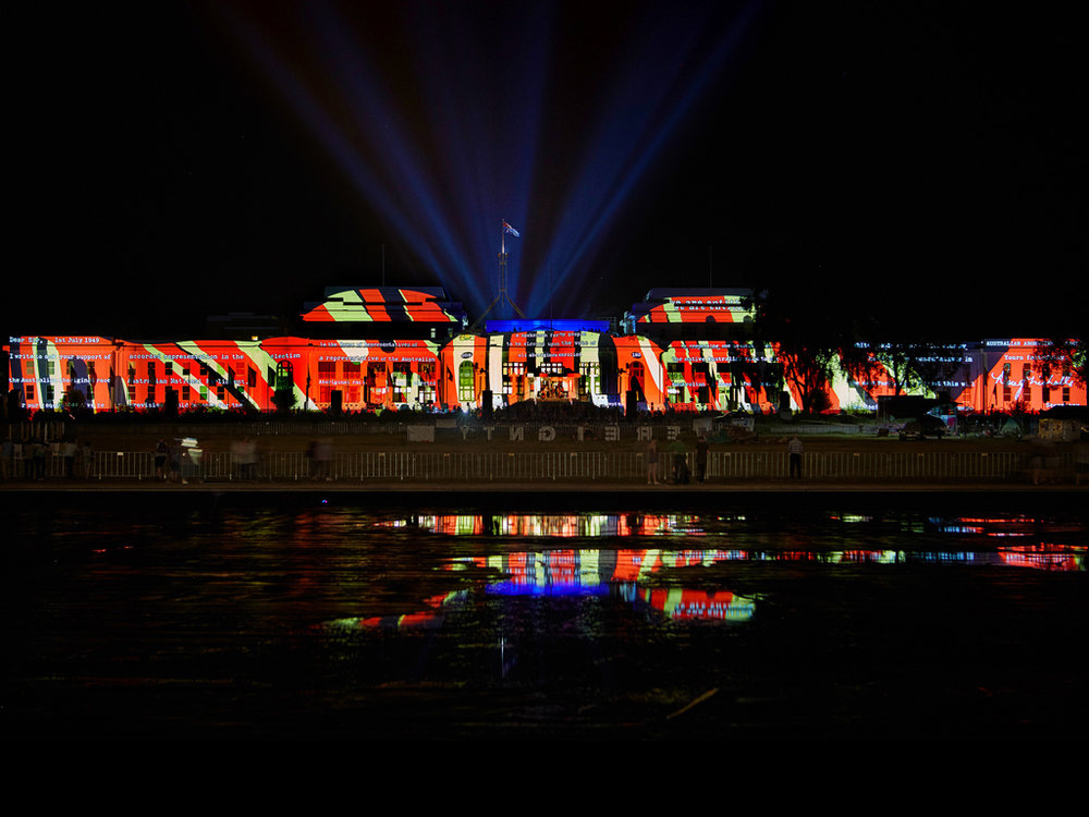 1949 , light-work, still large format slide, façade projection mapping, Old Parliament House, MOAD, Canberra, 2016. Photo Mark Kelly
