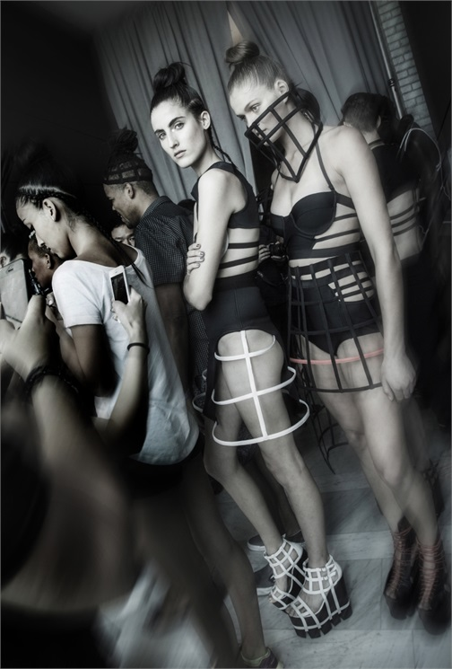 CHROMAT | NEW YORK FASHION WEEK | SPRING/SUMMER 2015 | VOGUE ITALIA  The best of backstages from New York Fashion Week Spring Summer 2015 seen by Bruno Rinaldi  Photo by: Shoko Takayasu  Key Hair by Chuck Amos using Oribe Hair Care. Hair Kien Hoang, Christian Ceja, Louis Orozco, Adam Livermore for Oribe Hair Care.