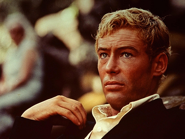 """Peter O'Toole (1962)   """"As the lead in Lawrence of Arabia, Peter was made into a blonde, and it was a huge transformation. Plus, not many actors during that time had blonde hair. Peter's bright blue eyes with his sun-bleached hair were a new type of Hollywood handsome.""""– Adam for Oribe Hair Care"""