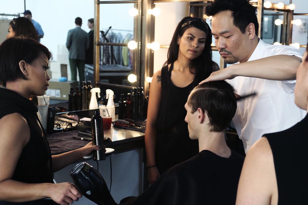 NEW YORK FASHION WEEK MENS #NYFWM | DAVID HART NYC | SPRING/SUMMER '16  Featuring: David Hart NYC @davidhartnyc @cadillac //Key Hair: Kien Hoang @kienhoang for Oribe Hair Care @oribe //Hair Team: Oribe Hair Care Team | Roz Corpuz @lapetiterozay for Umbrella Salon @umbrellasalon @industriasuperstudio Photo by: Anthony Deeying