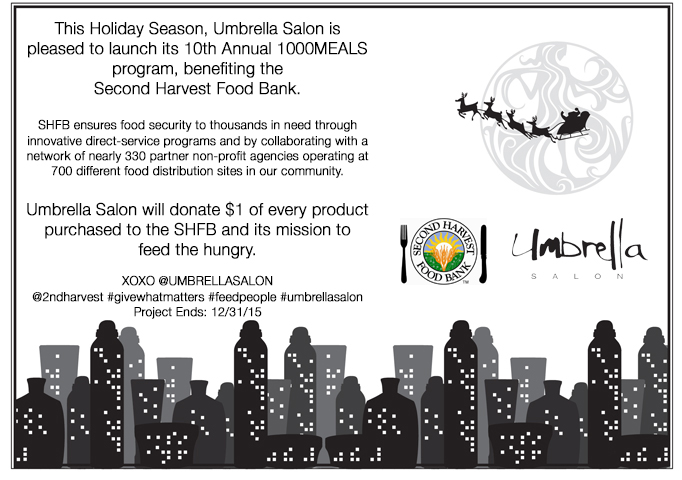 Umbrella Salon Partners With The Second Harvest Food Bank For The