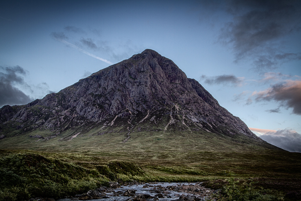 The sun rising over Glen Etive, and Etive Mor, during the early hours of a fresh August morning.