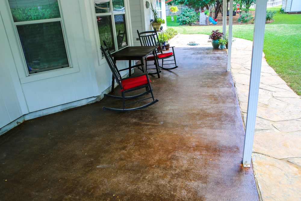 How to acid stain your concrete porch spindle life for How to clean cement stains