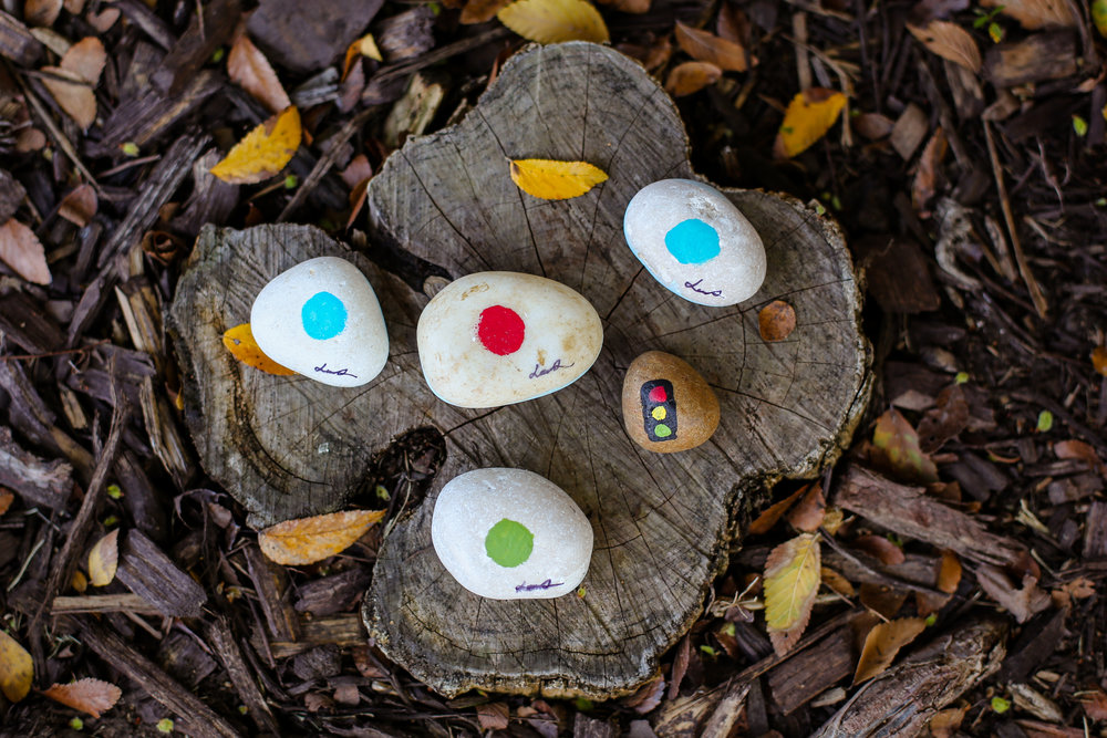 There is a  painted dot on the back of each rock - to learn colors & easily find rocks that are turned over
