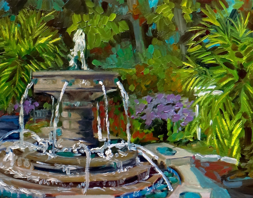 """Fall by the Fountain"" 2015. Oil on canvas board."