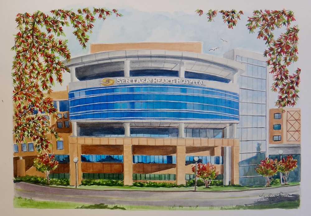 Sentara Heart Hospital, watercolor illustration, 2015.