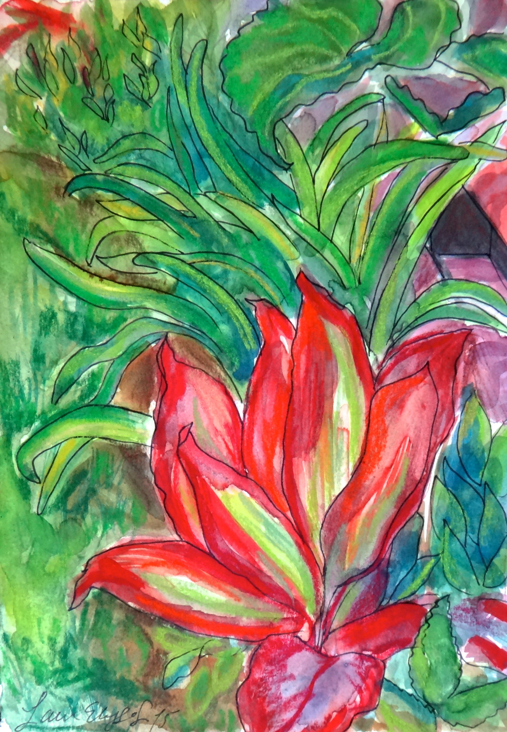 Hawaiian Garden. Mixed media watercolor and Conté Crayon.