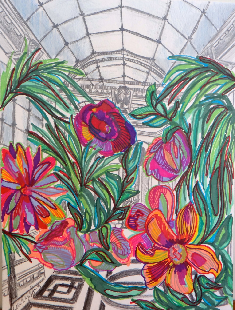Flowers in a Conservatory. Mixed media graphite and marker.
