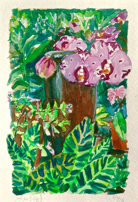 """Orchids Before a Fountain"" Gouache on paper, 2017."