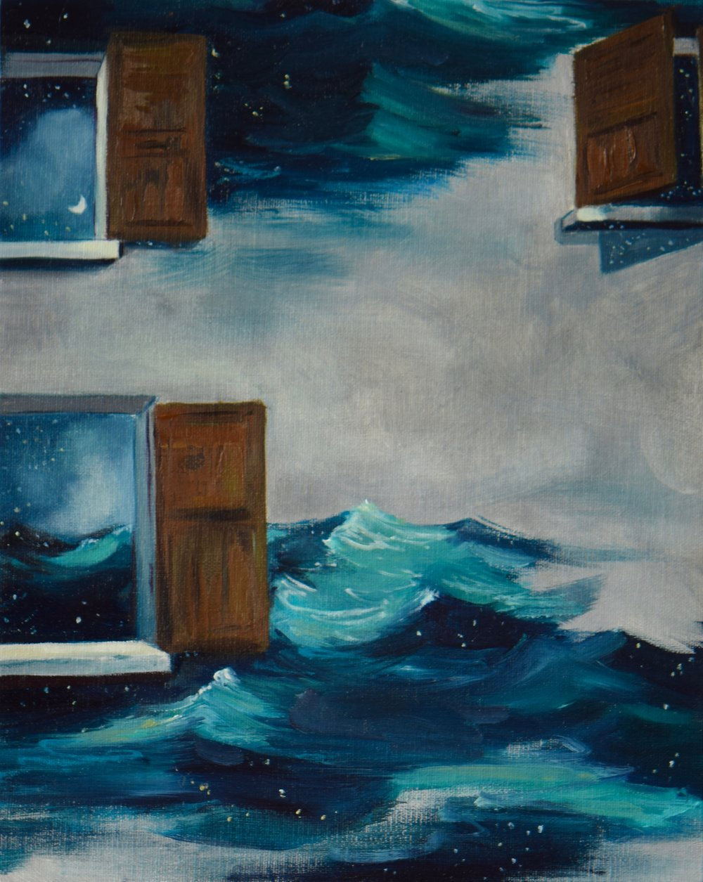"""Two Ends of the Sea"" Acrylic and oil on canvas panel, 2017."