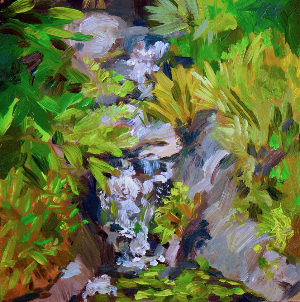 San Diego waterfall plein air, oil on wood canvas, 2018.