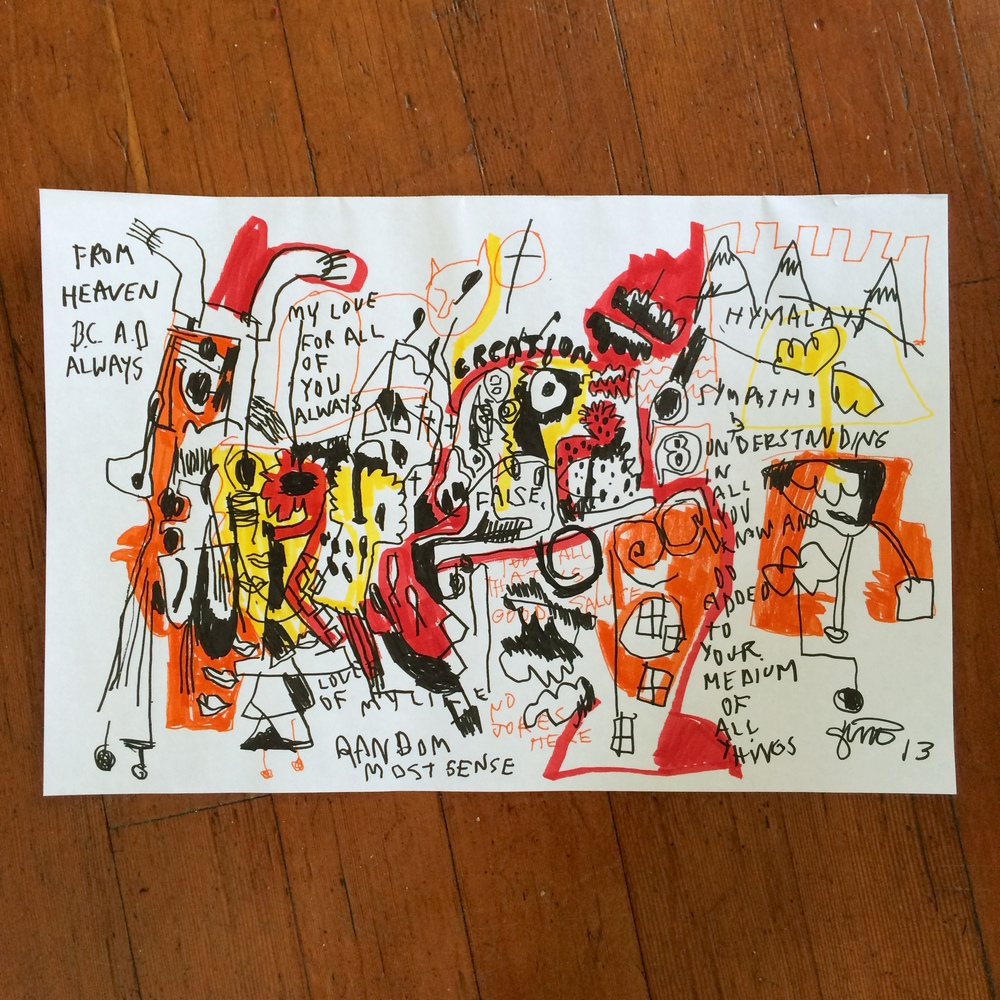 Gino Perez, Untitled (From Heaven B.C. A.D. Always), 2002, marker on paper, 12 x 18 inches, $150