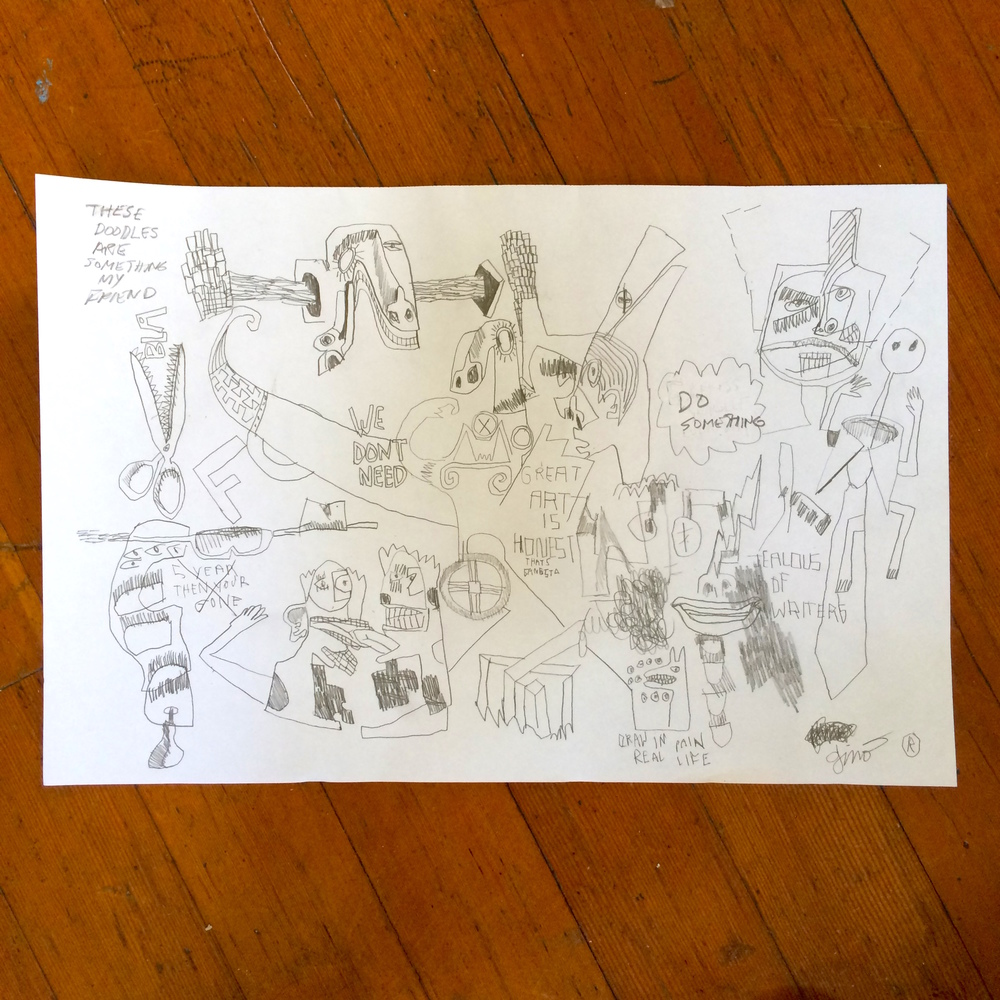 Gino Perez, Untitled (These Doodles Are Sometimes My Friend), 2002, pencil on paper, 12 x 18 inches, $150