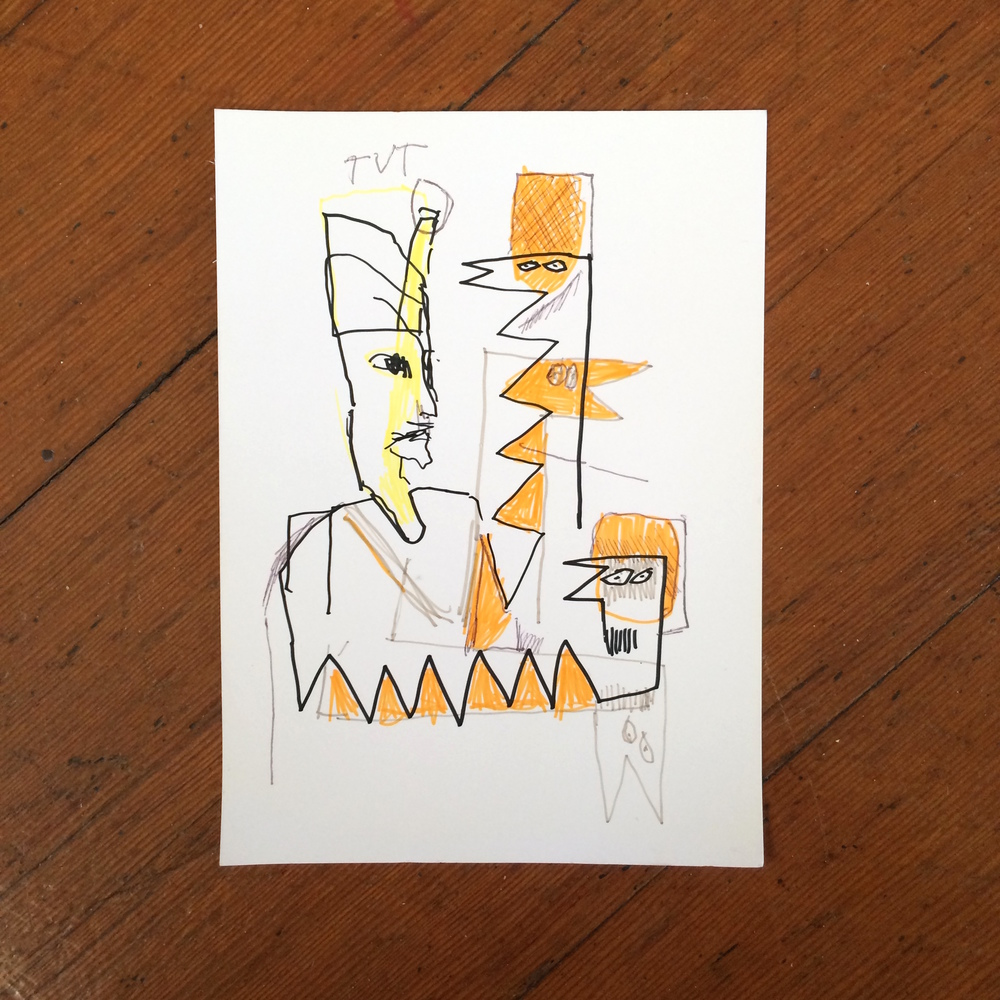 Gino Perez, Untitled (TVT), 2002, pencil and marker on paper, 7 x 5 inches, $50