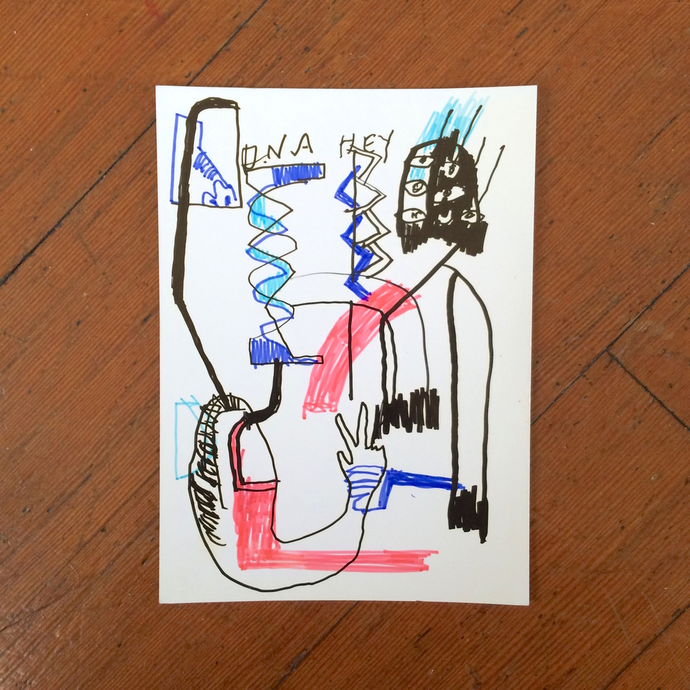 Gino Perez, Untitled (DNA Hey), 2002, marker on paper, 7 x 5 inches, $50
