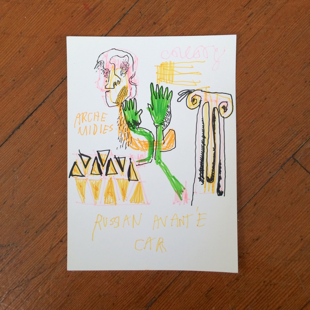 Gino Perez, Untitled (Russian Avante Car), 2002, marker on paper, 7 x 5 inches, $50
