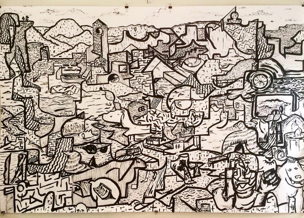 Alex Fatemi No Calendar, 2015 Acrylic and watercolor on paper 48 x 72 inches $550