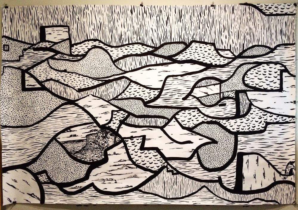 Alex Fatemi Piece Of Mind, 2015 Oil pastel on paper 48x 60 inches $450