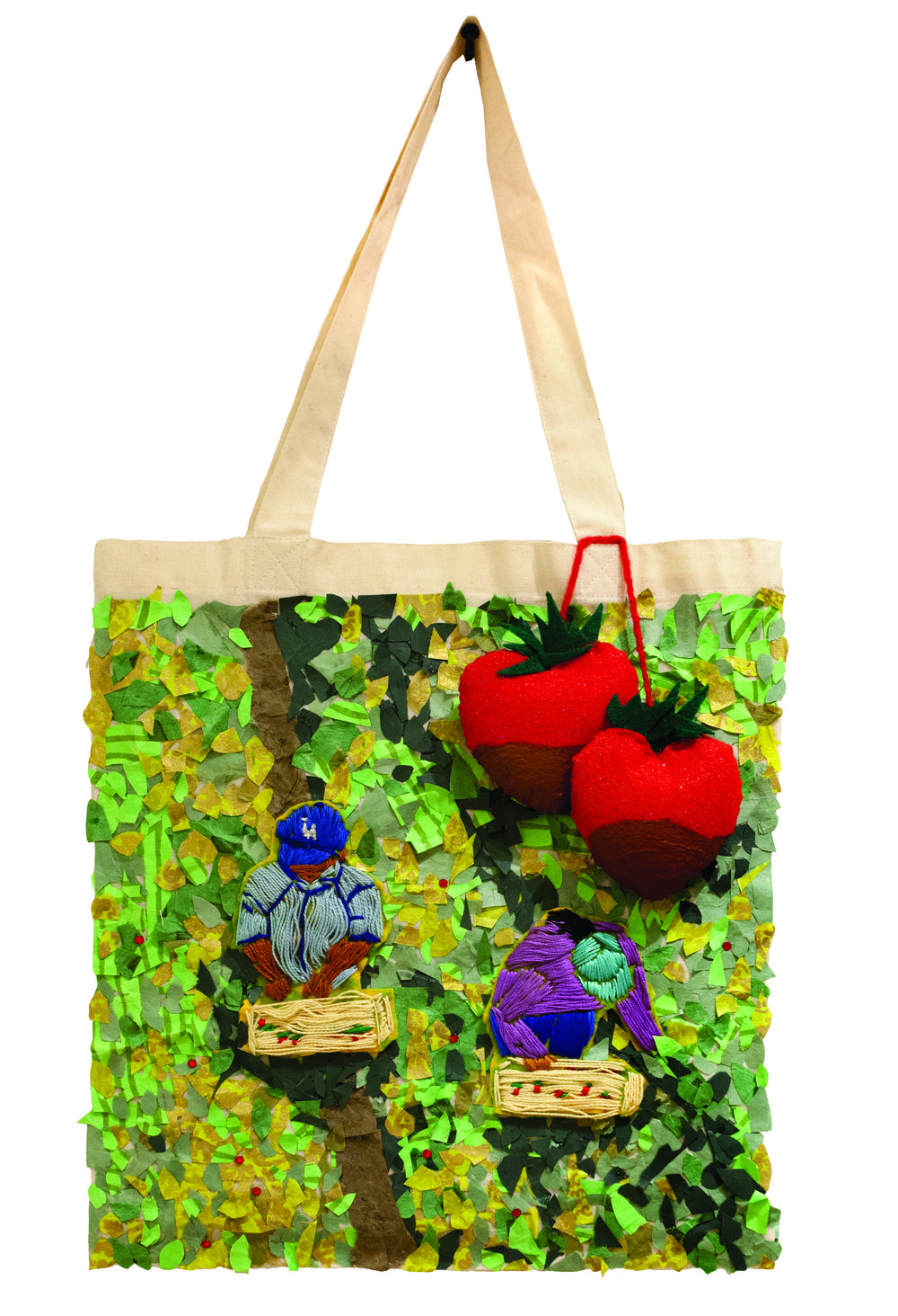 Melly Trochez // Fruit in the Fields // 2018 // Mixed media on canvas bag // 12 x 15 inches