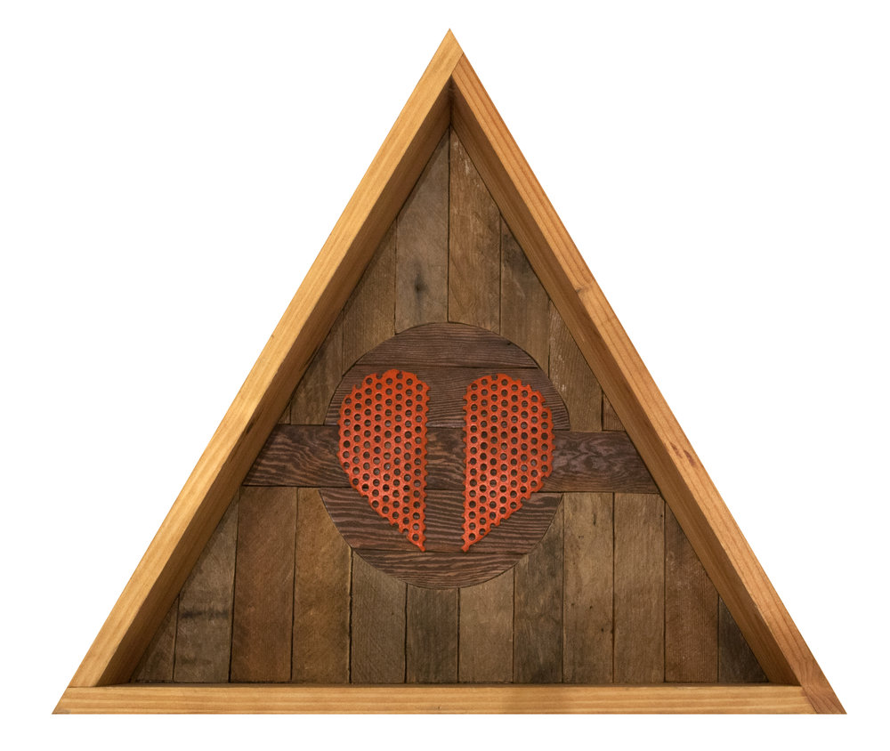 CLINT PETERSON // BROKEN HEARTS CLUB // 2018 // FOUND WOOD AND CARDBOARD // 19 X 4 X 17 INCHES