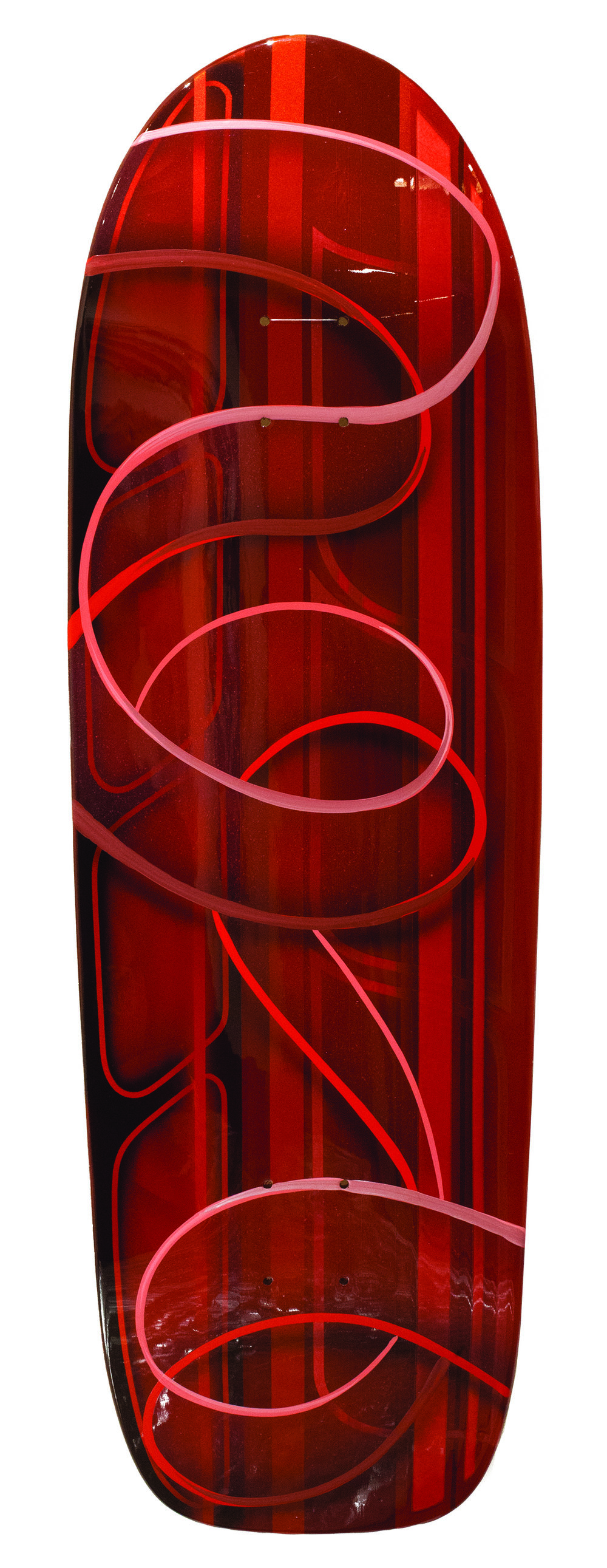 PHIL LEONARD // UNTITLED // 2018 // ENAMEL AIRBRUSH ON SKATE DECK // 36 X 8 INCHES