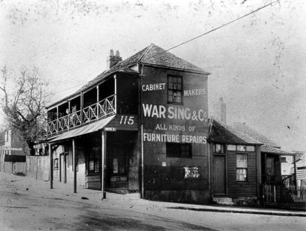 Furniture shop at the corner of Campbell and Smith Streets, Surry Hills, c. 1902.  At this time there were many Chinese furniture makers in Sydney, with clients ranging from the lowliest to David Jones department store. City of Sydney Archives, NSCA, CRS, 51/166