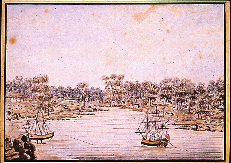 Sydney Cove, Port Jackson. 1788 By Bradley, William. From the collection of the State Library of New South Wales [a3461012 / Safe 1/14 opp p 84] (Mitchell Library)