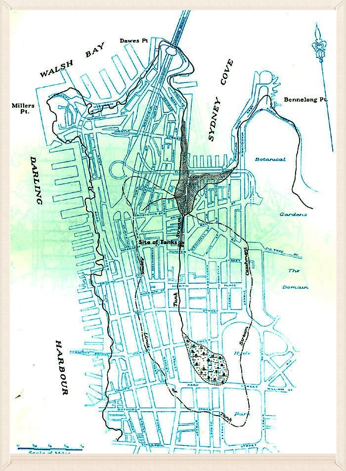 Tank Stream Map The catchment area of the Tank Stream superimposed on a map of current Sydney. (Reproduced from W V Aird, The Water Supply, Sewerage and Drainage of Sydney, The Metropolitan Water Sewerage & Drainage Board, Sydney , 1961.)