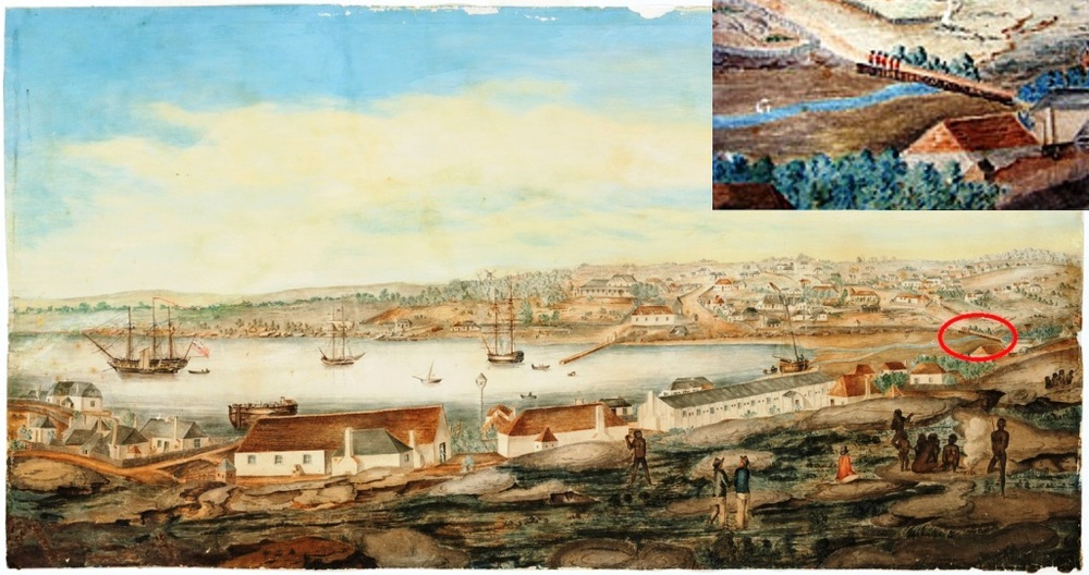 Sydney from the western side of the Cove ca 1803 attributed to G.W. Evans State Library of NSW http://acms.sl.nsw.gov.au/item/itemPopLarger.aspx?itemid=457903