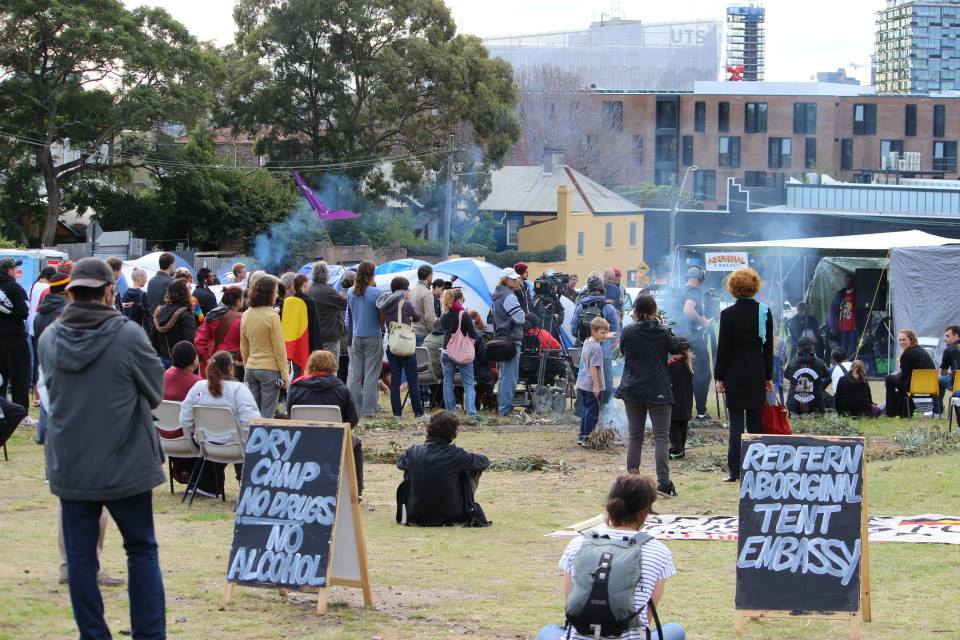 Above photo (taken by  Peter Boyle ) of the 15th June Rally is from  Redfern Aboriginal Tent Embassy Facebook  page