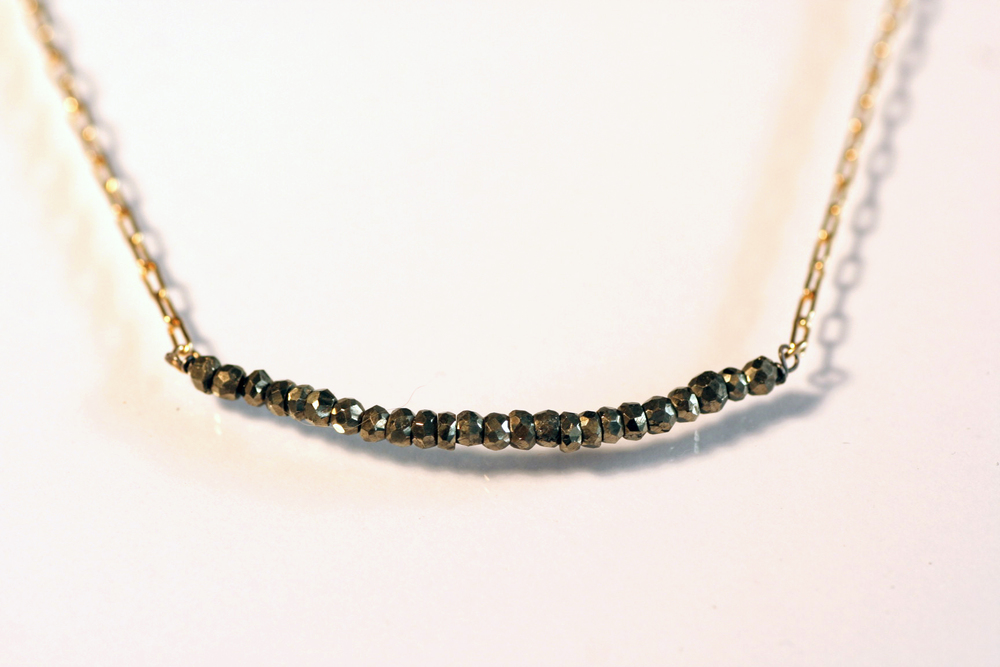 Faceted Pyrite and Gold Necklace