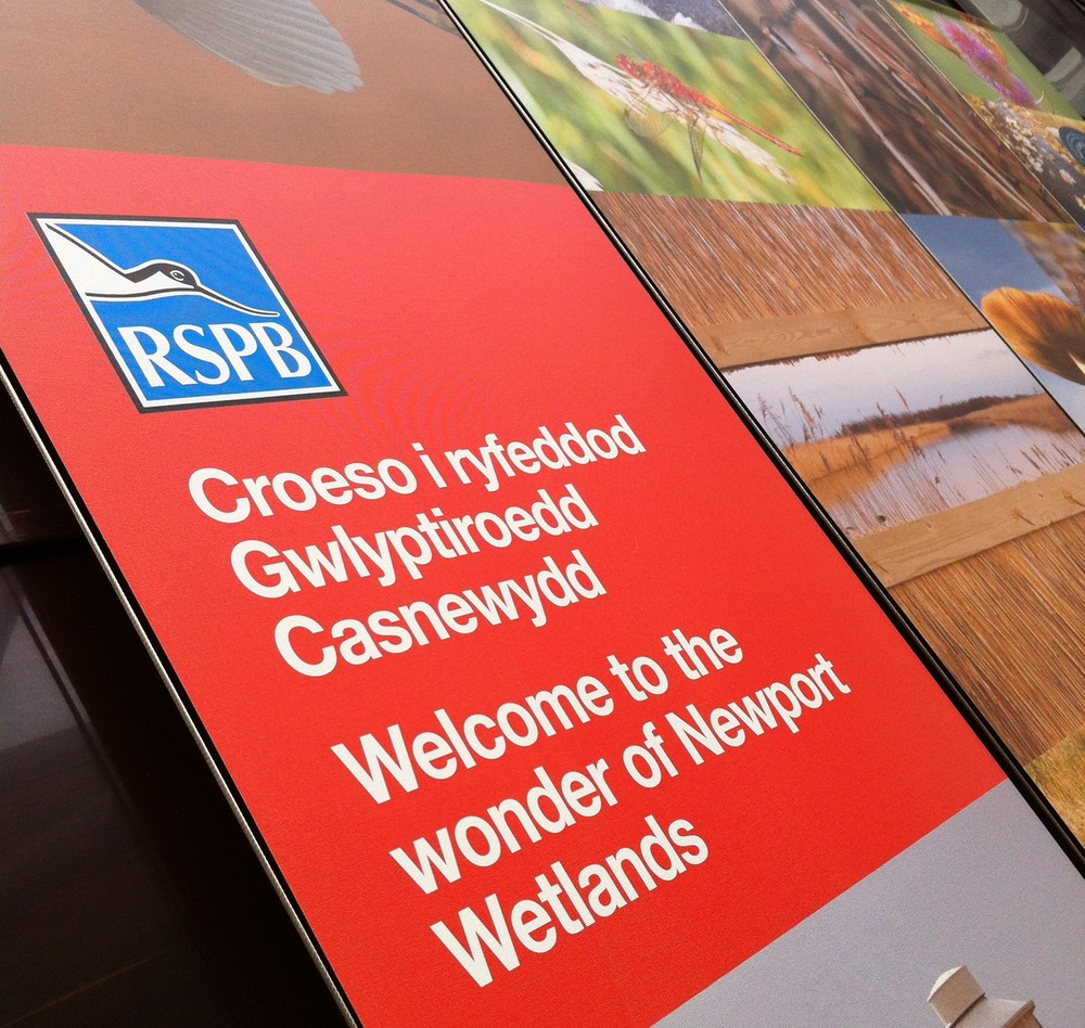We were delighted to be asked by RSPB to produce the new design and printing for their interpretation banners, wall panels and sightings board at Newport Wetlands centre.  Here's an image of the finished cotton banners - we'll be posting more images of the work on our  facebook page .