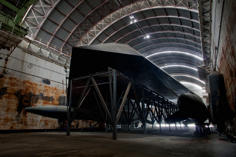 Sea Shadow IX-529, experimental stealth ship, inside Hughes Mining Barge   Completed: 1985 Transfered to SBRF: 2006,  dismantled and recycled in 2012