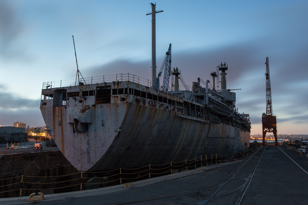 Docked at Mare Island Ship Yard, taken during twilight