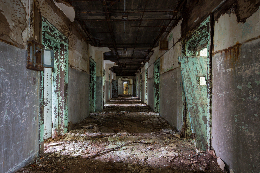 Corridor inside the Walker Building at Central State Hospital, Georgia.