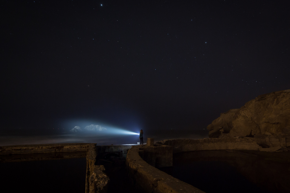 Sutro Bath Ruins, San Francisco 20 seconds, f/8 @ ISO 1600 - Flashlight remained on for the duration of the exposure