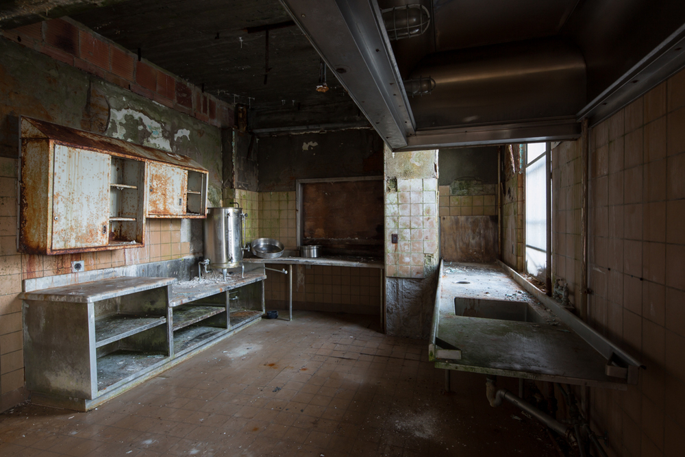 Kitchen inside the Wingdale patient wards at the former Harlem State Hospital in New York.