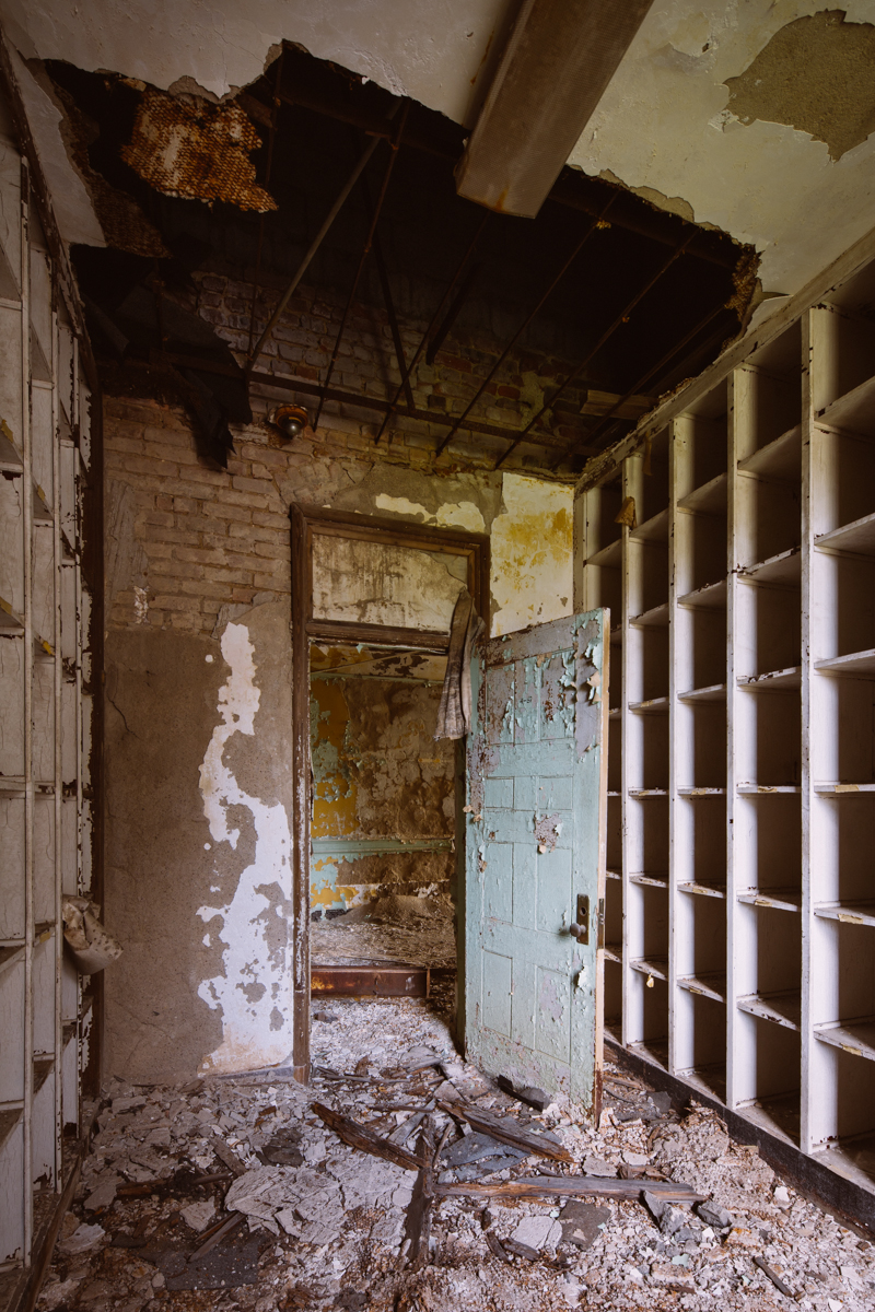 Storage closet in the female wards at Greystone Park Psychiatric Hospital in New Jersey.