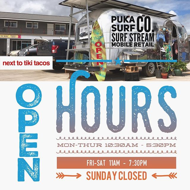 Puka Surf Stream Mobile Retail has its first head quarters!  Come check it out in Kapaa next to Tiki Tacos. They say big dreams have small beginnings and Im definitely doing a happy dance for this humble start.... And also wondering if I'm crazy dancing to no music 🤔 🤷🏽‍♀️ohh well too bad I'm dancing anyway 💃 time to plan a grand opening ----- These hours are experimental and I'm the only one keeping the doors open for now.  Anyone need a mellow part time job? Also looking for quality locally made or environmentally responsible products? --- #helpwantedkauai #smallbusinessowner #kauai #kauaimade