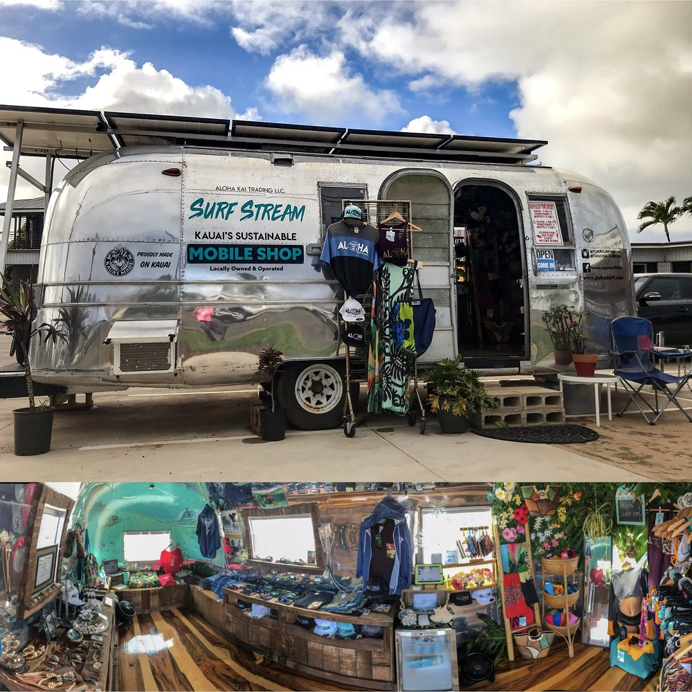 Surf Stream Mobile Shop - Address4-971 Kuhio HighwayKapaa HI, 96746Hours of OperationMonday-Wednesday 11:00am-5:00pmThursday ClosedFriday, Saturday 11:00am- 7:00pmSunday 12:00pm-4:00pm