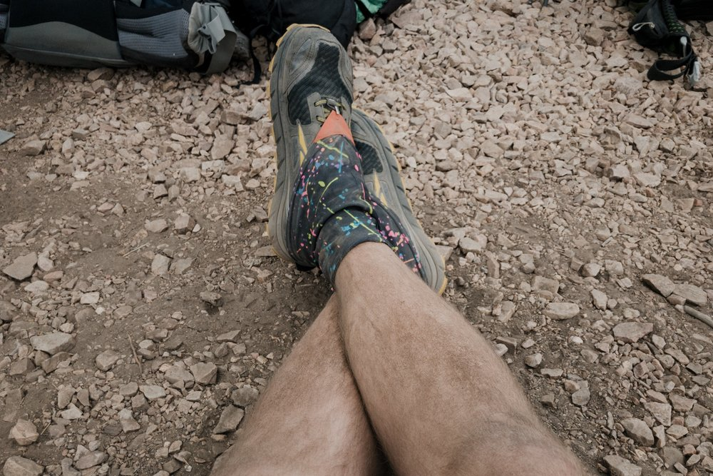 Dirty hiker legs.